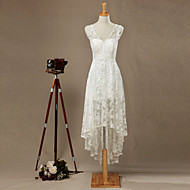 Sheath / Column Wedding Dress Asymmetrical V-neck Lace with Appliques / Lace