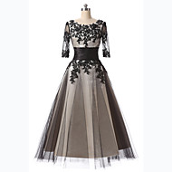 Formal Evening Dress A-line Scoop Tea-length Lace