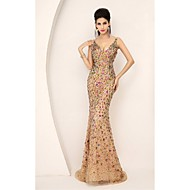 Formal Evening Dress Trumpet / Mermaid V-neck Sweep / Brush Train Tulle with Crystal Detailing / Sequins