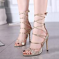 Women's Shoes Leatherette Stiletto Heel Open Toe Sandals Dress Black / Silver / Gold