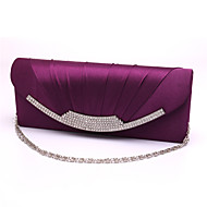 Women Satin Formal / Event/Party / Wedding Evening Bag White / Purple / Blue / Gold / Red / Black / Almond