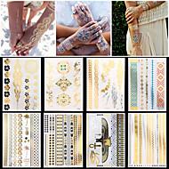 8pcs nuevas mujeres del arte de cuerpo impermeable atractiva de cadena de joyería collar pulsera pegatinas tatuaje temporal de plata de