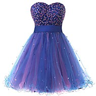 Cocktail Party Dress-Royal Blue Ball Gown Sweetheart Knee-length Organza