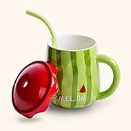 kreative søt vannmelon stil sugerør keramiske krus kopp