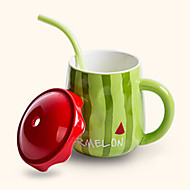 kreative nette Wassermelone Stil Trinkhalm Keramik-Becher Tasse