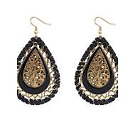 Super Vintage Bohemian Hollow Water Drops Gold Alloy Drop Earrings Braid Women Weeding Jewelry