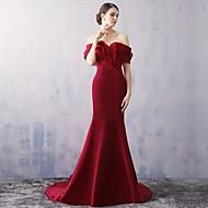 Formal Evening Dress-Burgundy Trumpet/Mermaid Off-the-shoulder Court Train Organza / Satin
