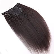 8a 100% clipe natural em extensões de cabelo humano clipe de cabelo brasileiro em extensão Kinky em linha reta