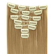 """16 """"-28"""" / extensão do cabelo humano pacote de 100g brasileiro grampo de cabelo humano em 7pcs extensão do cabelo"""