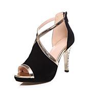 Women's Shoes Suede Stiletto Heel / Peep Toe / Platform Sandals Wedding / Party & Evening / Dress Black / Blue / Red