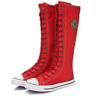 Women's Spring Summer Fall Winter Fashion Boots Canvas Outdoor Casual Athletic Flat Heel Zipper Lace-up