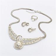 Women European Style Fashion Elegant Shiny Rhinestone Imitation Pearl Necklace Earring Ring Sets