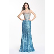 Formal Evening Dress Trumpet / Mermaid Scoop Sweep / Brush Train Sequined with Appliques / Lace