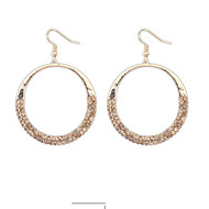 New Arrival Design Fashion Gold Silver Big Hollow Circle Rhinestone Drop Earrings