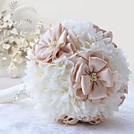 """Bouquets de Noiva Redondo Lírios Peônias Buquês Casamento Festa / noite Poliéster Cetim Organza Strass 7.48""""(Aprox.19cm)"""