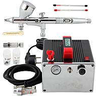 ophir pro 0.2mm 0.3mm 0.5mm double kit aérographe d'action& compresseur d'air pour l'art d'ongle maquillage