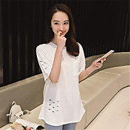 Women's Solid White / Black / Gray T-shirt,Round Neck ½ Length Sleeve