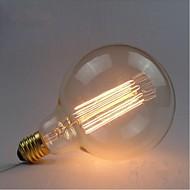 e27 AC220V-240V 40w edison bulbos retro seda filamento de carbono incandescente G125 reta fio de pérolas