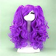 2 farger cosplay parykk lang krøllete syntetisk hår varmebestandige Cosplays fest parykker