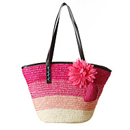 Fashion Woman Bag Striped Natural Straw Bags Woven Straw Shoulder Bag Handbag Lady Tourist Beach Bag