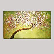 κοπίδι τέχνη ελαιογραφίας στο χέρι ζωγραφισμένο τοίχο εικόνα διακόσμηση φρέσκα πράσινα ροζ κερασιά τεντωμένο (έτοιμος να κρεμάσει)