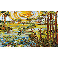 JAMMORY Trees/Leaves Wallpaper Classical Wall Covering,Canvas Large Mural  Abstract Painting Trees Sky River