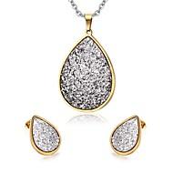 Ensemble de bijoux Plaqué or 18K or Mode Forme Ovale Argent Set de Bijoux Soirée Quotidien Décontracté 1setColliers décoratifs Boucles