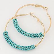 Women European Style Fashion Ethnic Metal Beads Wild Simple Hoop Earrings