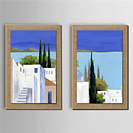 Ręcznie malowane Pejzaż abstrakcyjny Nowoczesny,Dwa panele Hang-Malowane obraz olejny