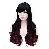 mest populära lång storlek flerfärgade svarta mix burgundy lockigt hår syntetiska peruker