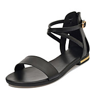Women's Shoes Cowhide Flat Heel Mary  / Comfort / Open Toe Sandals Office & Career / Dress / Casual Black / White