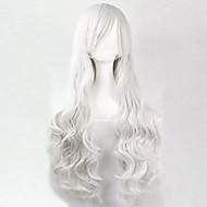 nové evropské a americké vysoké teploty drátu bílé dlouhé vlasy wig80cm