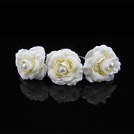 2 PCS Women's Flower Fabirc Pearl Headpiece-Wedding U Shape Hair Pin / Hair Stick Jewelry