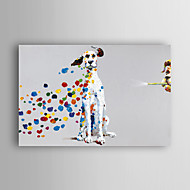 óleo pintados à mão animais pintura do cão travesso, com quadro esticado arts® 7 parede