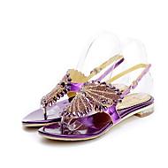 נעלי נשים-סנדלים-עור-נעלים עם פתח קדמי / נוחות / גלדיאטור-שחור / סגול / אדום-שמלה / קז'ואל / מסיבה וערב-עקב נמוך