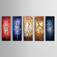 Ručně malované Abstraktní Moderní / Pastýřský / evropský styl,Pět panelů Hang-malované olejomalba