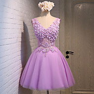 Cocktail Party Dress A-line V-neck Knee-length Lace / Tulle with Beading / Flower(s) / Lace / Sequins