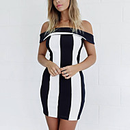 Women's Sexy Striped Bodycon Dress,Boat Neck Above Knee Polyester
