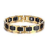 Pánské Řetězové & Ploché Náramky Nerez Keramika Magnetická terapie Zlatá + černá Šperky 1ks