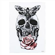 9pcs nuevo cráneo gris de la mariposa de la flor se levantó el brazo del arte etiqueta de tatoo impermeable arte corporal etiqueta