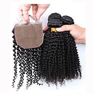 Trama do cabelo com Encerramento Cabelo Peruviano Kinky Curly 12 meses 4 Peças tece cabelo