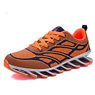 Herre-PU-Flat hæl-Komfort-Sportssko-Fritid-Svart Rød Oransje