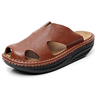 Men's Shoes summer Outdoor / Casual Leather Platform Slippers Black / Brown