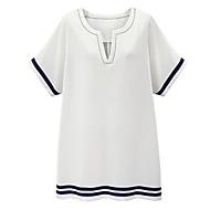 T Shirt Klänning Streetchic Ledigt/vardag / Plusstorlek Kvinnors,Randig V-hals Ovanför knäet Kortärmad Blå / Vit Bomull / Linne Sommar