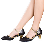 Women's Dance Shoes Belly / Latin / Dance Sneakers / Modern / Swing Shoes / Salsa / Leather Cuban Heel Black / Gold