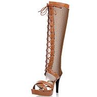 נעלי נשים-סנדלים-דמוי עור-עקבים / פלטפורמה / פתוח / מגפי אופנה-שחור / חום / Almond-שמלה / מסיבה וערב-עקב סטילטו