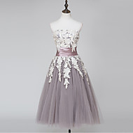 Cocktail Party Dress Ball Gown Strapless Tea-length Lace / Satin / Tulle with Lace