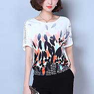 Women's Going out Simple / Street chic Blouse,Print Round Neck Short Sleeve White Polyester Thin