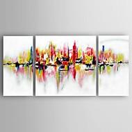 Pintados à mão Paisagem Modern / Clássico / Pastoril / Estilo Europeu,3 Painéis Hang-painted pintura a óleo