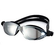 Óculos de Natação Tamanho Ajustável Correira Anti-Escorregar Couro Ecológico PC Preto Azul Preto Azul
